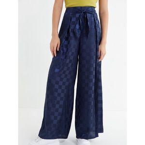 UO satin checkered navy pants